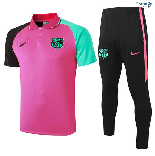 Peamu - Kit Maillot Entrainement POLO Barcelone + Pantalon Rose 2020-2021