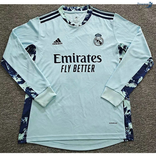 Peamu - Maillot foot Real Madrid Gardien de But Manche Longue Bleu 2020-2021
