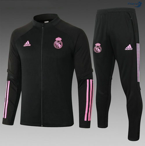 Peamu - Veste Survetement Real Madrid Enfant Noir/Rouge 2020-2021