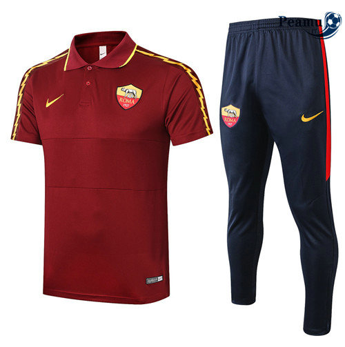 Kit Maillot Entrainement POLO AS Rome + Pantalon Jujube Rouge 2020-2021