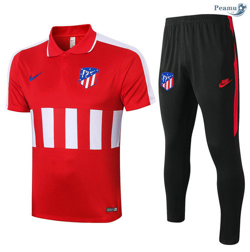Kit Maillot Entrainement POLO Atletico Madrid + Pantalon Rouge/Blanc 2020-2021