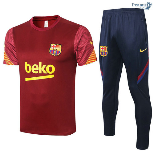 Kit Maillot Entrainement Barcelone + Pantalon Jujube Rouge 2020-2021
