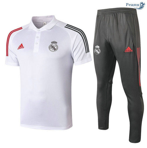 Kit Maillot Entrainement POLO Real Madrid + Pantalon Blanc 2020-2021