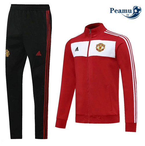 Veste Survetement Manchester United Rouge/Blanc/Noir 2020-2021