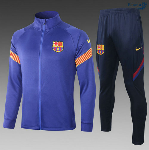 Veste Survetement Barcelone Enfant Bleu/Orange 2020-2021