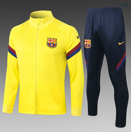 Veste Survetement Barcelone Enfant Jaune 2020-2021