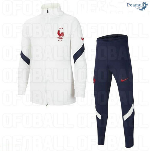 Veste Survetement France Enfant Blanc 2020-2021