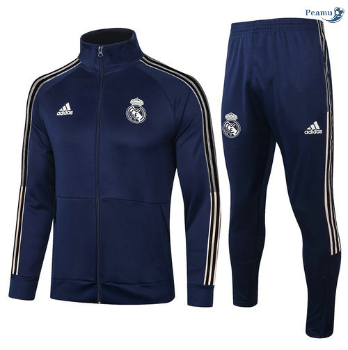 Peamu - Veste Survetement Real Madrid Bleu Marine Col Haut 2020-2021