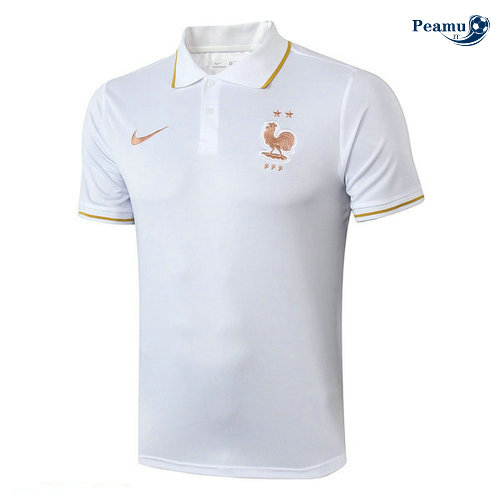Kit Maillot Entrainement POLO France + Pantalon Bianco/Bleu navy