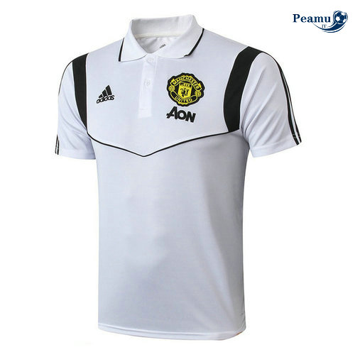 Kit Maillot Entrainement POLO Manchester United + Pantalon Bianco 2019-2020
