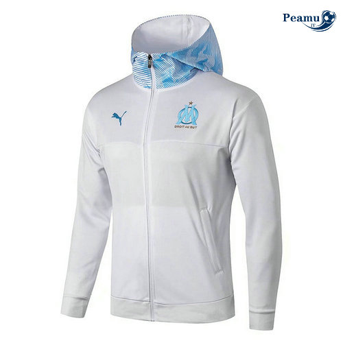 Sweat à capuche Calcio Marseille Bianco/Bleu clair 2019-2020