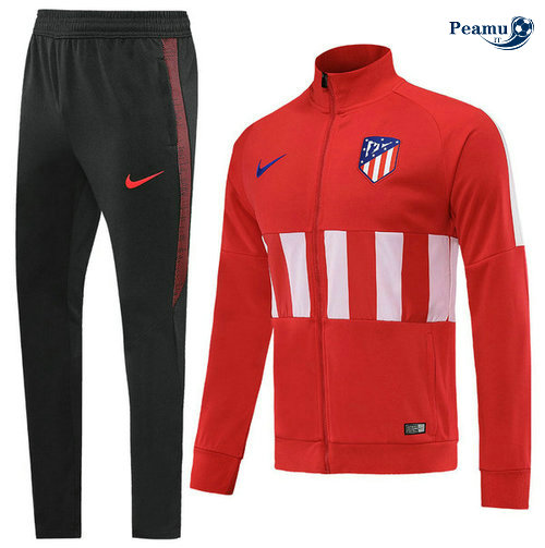 Veste Survetement Atletico Madrid Rouge/Bianco Noir 2019-2020 Collo Alto