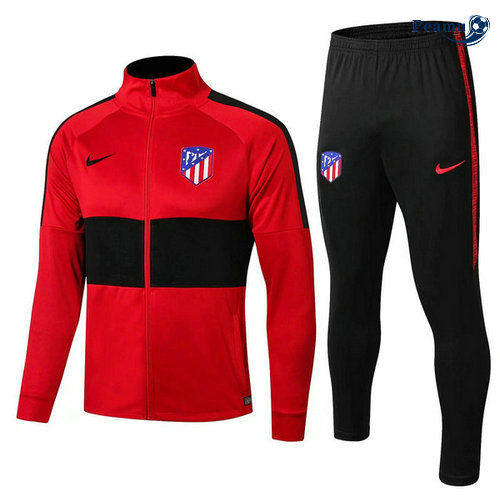 Veste Survetement Atletico Madrid Rouge/Noir 2019-2020 Collo Alto