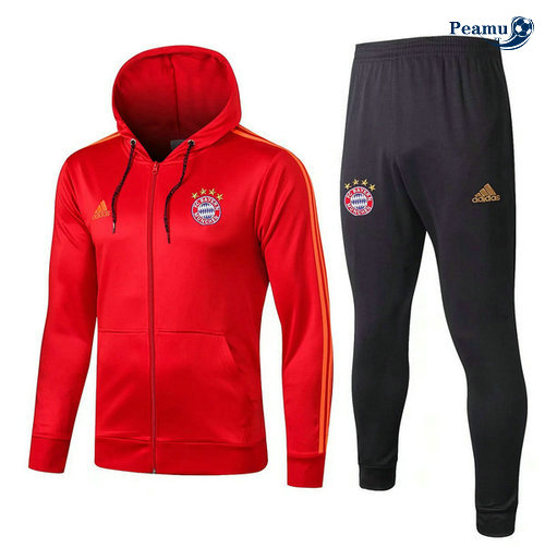 Veste Survetement con cappuccio Bayern Munich Rouge/Bleu navy 2019-2020