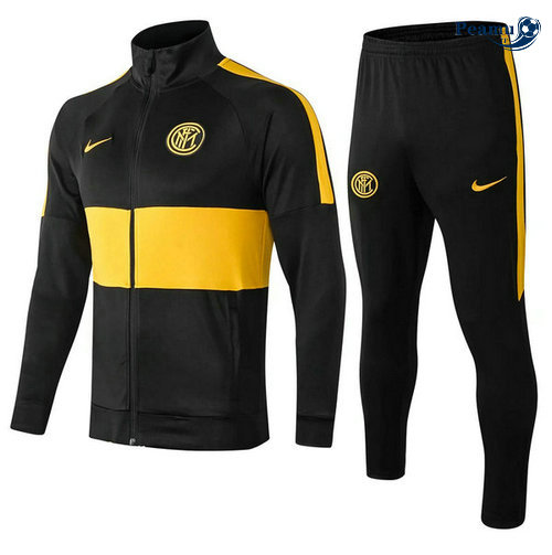 Veste Survetement Inter Milan Noir/Jaune 2019-2020 Collo Alto