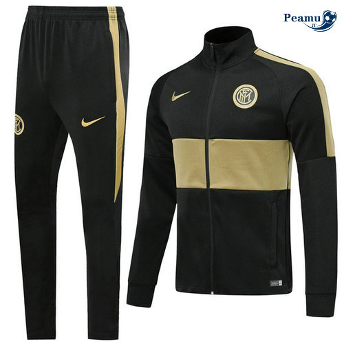 Veste Survetement Inter Milan Noir/Kaki 2019-2020 Collo Alto