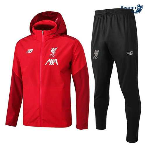 Veste Survetement con cappuccio A Vento Liverpool Rouge/Noir 2019-2020