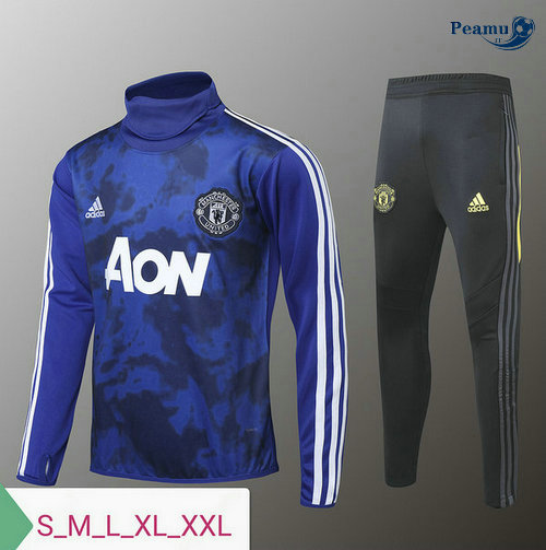 Survetement Manchester United Bleu clair/Noir 2019-2020 Collo Alto