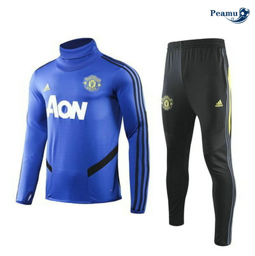 Survetement Manchester United Bleu clair/Noir 2019-2020 Collo Alto M118