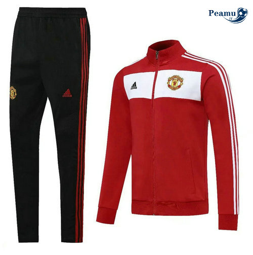 Veste Survetement Manchester United Rouge/Bianco/Noir 2020-2021