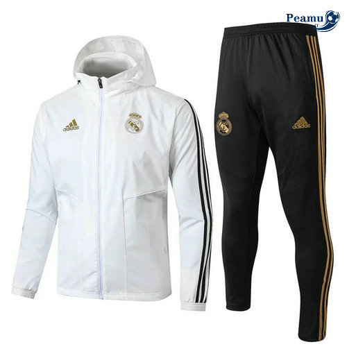 Veste Survetement con cappuccio A Vento Real Madrid Bianco/Noir 2019-2020