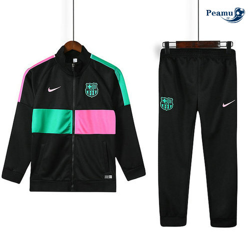 Veste Survetement Barcelone Enfant Noir Rose/Verde 2019-2020