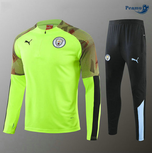 Survetement Manchester City Enfant Verde herbe/Noir 2019-2020
