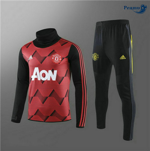 Survetement Manchester United Enfant Rouge/Noir Rayon Collo Alto 2019-2020