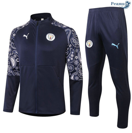 Veste Survetement Manchester City Bleu Marine 2020-2021