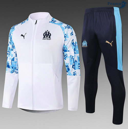 Veste Survetement Marseille Enfant Blanc 2020-2021